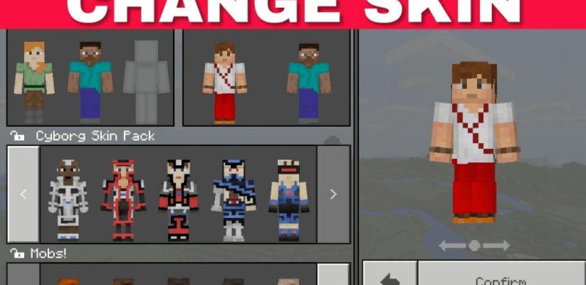 change skin on minecraft pe